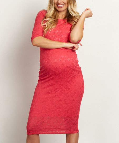 15a27fa246b PinkBlush Maternity Fuchsia Lace Maternity Midi Dress