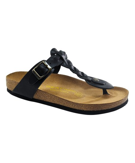 3ae03129aac79 Real Natura Black Braided Leather Thong Sandal - Women