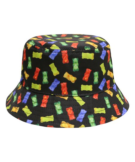 f42efd29867 City Hunter USA Black Gummy Bear Americas Favorite Food Bucket Hat ...