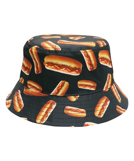 City Hunter USA Black Hot Dog Americas Favorite Food Bucket Hat  d24bc695294