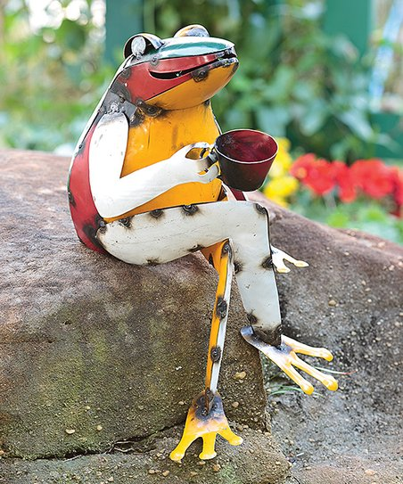 Love This Product Recycled Metal Coffee Frog Garden Décor