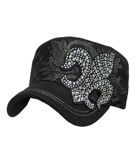 Kbethos Black Embellished Fleur-de-Lis Cadet Cap  a28d9a11bb