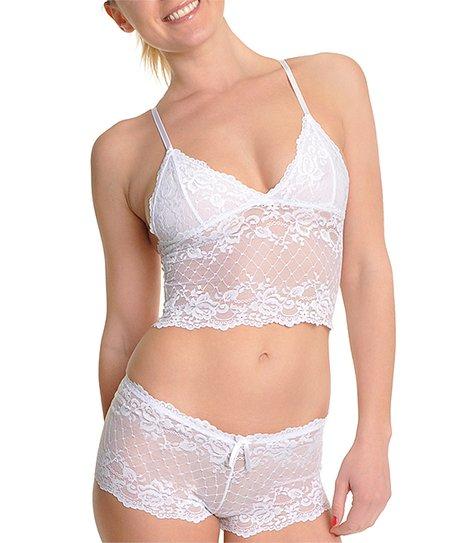 c176e39225d Angelina Diamond White Lace Wireless Cami Bra & Boyshorts - Women ...