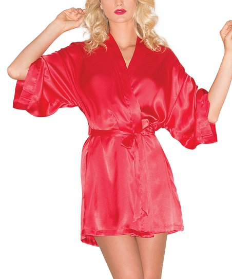 8037995936 love this product Red Satin Robe - Plus Too