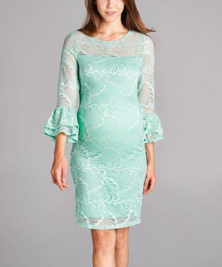 17d1773914480 Hello Miz Maternity Hello Miz Mint Floral Lace Maternity Dress | Zulily