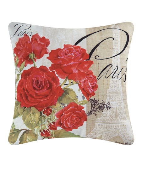Red Rose Paris Indoor Outdoor Throw Pillow