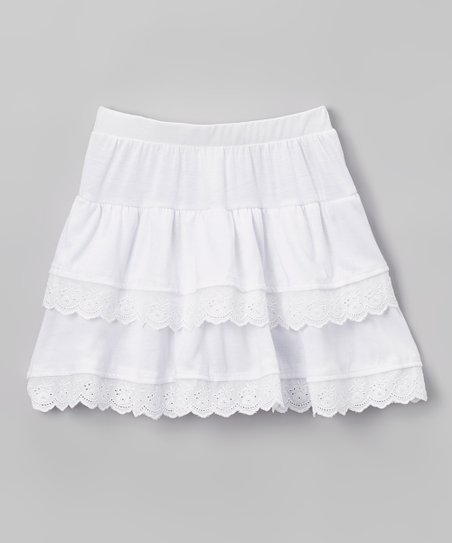 aeac460c1 UNBOUNDED White Lace Tiered Skirt - Girls | Zulily