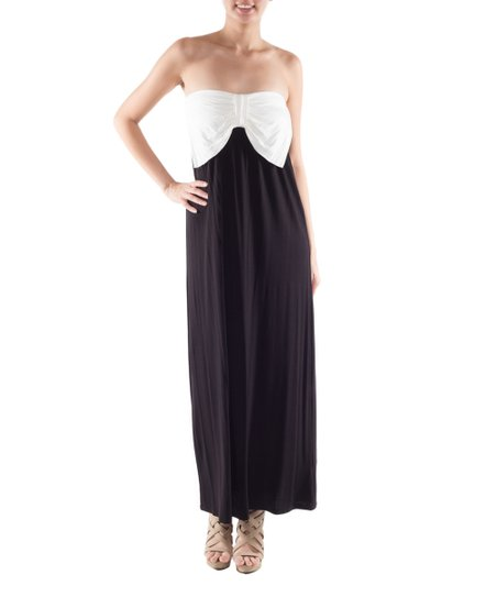 8f3846027856 Coveted Clothing Black & White Bow Strapless Maxi Dress - Women | Zulily