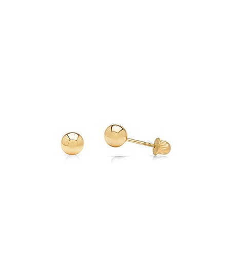 c9be75489 NY Gold & Silver 14k Gold Secure Screw-Back Ball Stud Earrings   Zulily