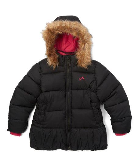 035f4b0c654d Vertical 9 Black Faux Fur Hood Puffer Coat - Girls