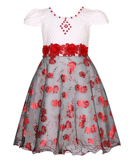 aad5ff364 Richie House White & Red Floral Cap-Sleeve Dress - Toddler   Zulily