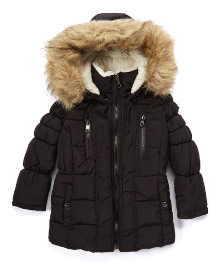 cdc8209891e Steve Madden Black Faux Fur Trim Hooded Puffer Coat - Girls