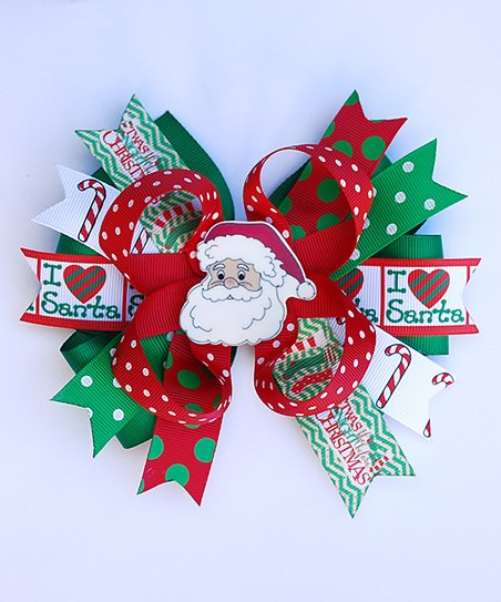 8c052c897ffc0 love this product Red   Green  I Love Santa  Layer Hair Bow