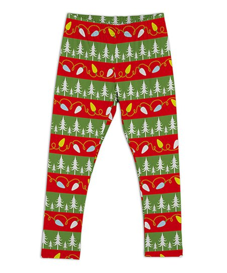 01657570e3c676 Sunshine Swing Red & Green Christmas Tree Leggings - Toddler & Girls ...
