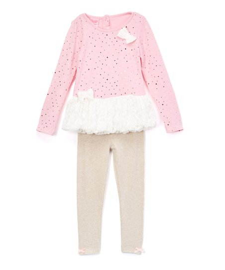 e1e6526110 Nannette Kids Pink   White Lacy Bow Sweater Dress   Pants - Toddler ...