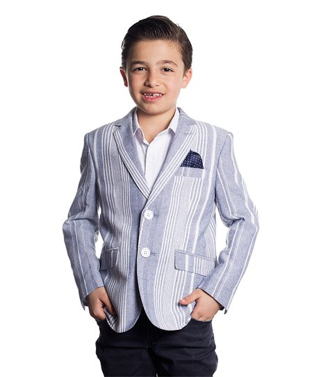 56f1842d414a Elie Balleh Navy   White Stripe Elbow Patch Blazer - Boys