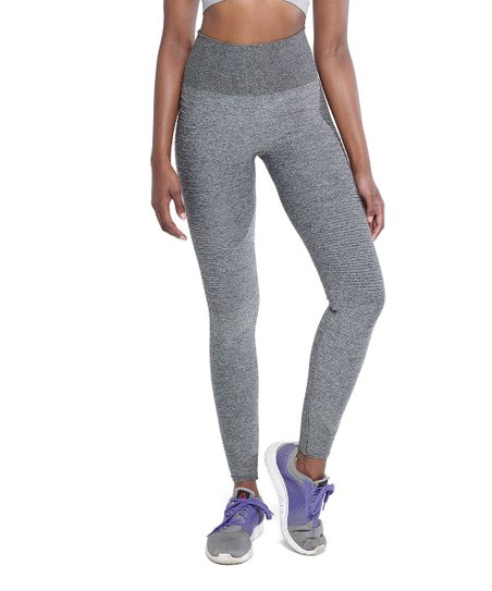415faef54cd640 Climawear Gray Melange High-Waist Ribbed-Accent Seamless Leggings ...