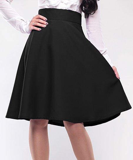 201dd4848d Laura Bettini Black High-Waist Flare Skirt - Plus Too | Zulily