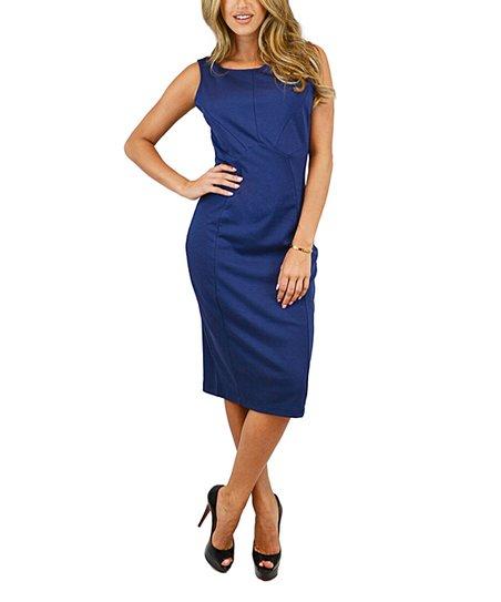 OC Collection Blue Zip-Back Midi Bodycon Dress