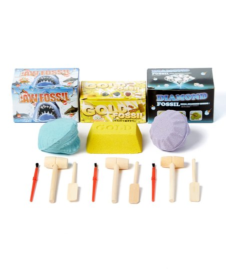 Barry Owen Jaw Fossil, Gold Fossil & Diamond Fossil Digging Toy Set