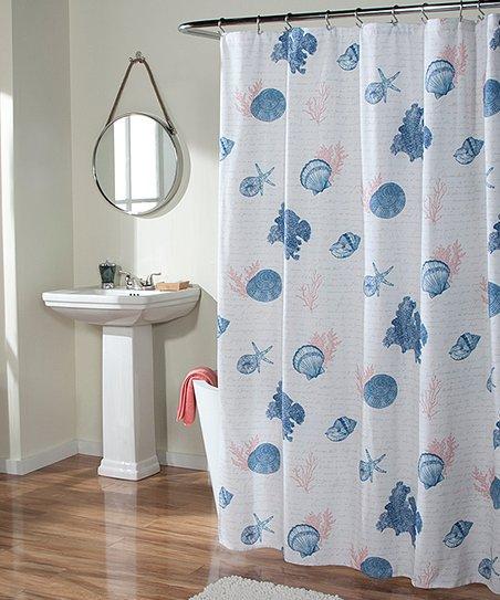 Coral Seaside Script Shower Curtain