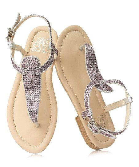 27d5aa1146f2 Savi Amethyst Swarovski Crystal Gladiator Leather Sandal