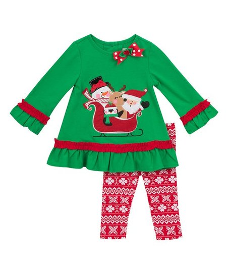love this product Green Christmas Friends Top & Leggings - Toddler & Girls