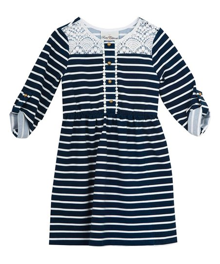 67ae03108e4 love this product Navy Stripe Lace Shirt Dress - Toddler   Girls
