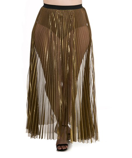 1a29ec5bca love this product Metallic Gold Sheer Pleated Maxi Skirt - Plus