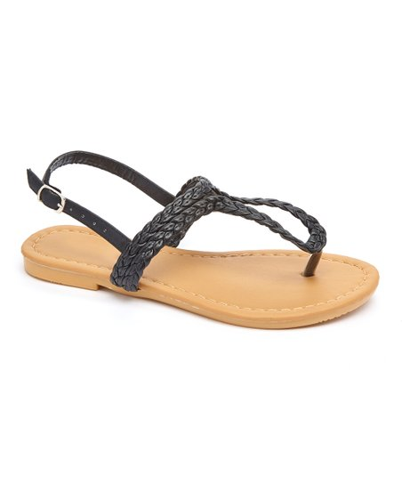 b95b9c990c56f4 Com Fancy Black Woven Thong Sandal