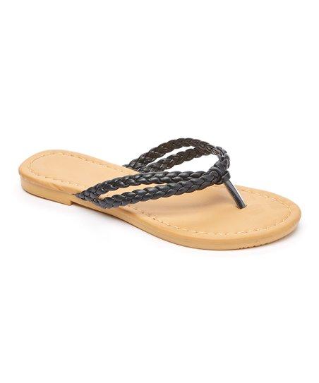 e921b8703cdb13 Com Fancy Black Woven Twin-Strap Thong Sandal