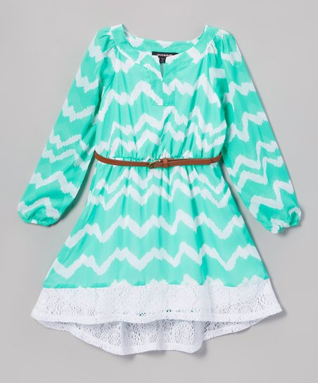 1bfe337d5 My Michelle Mint & White Zigzag Lace-Trim A-Line Dress | Zulily