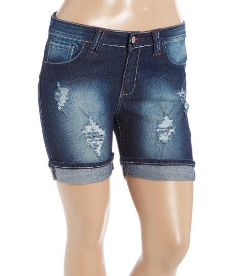 0b6c0793bfa Be Girl Clothing Dark Indigo Distressed Denim Shorts - Women   Plus ...