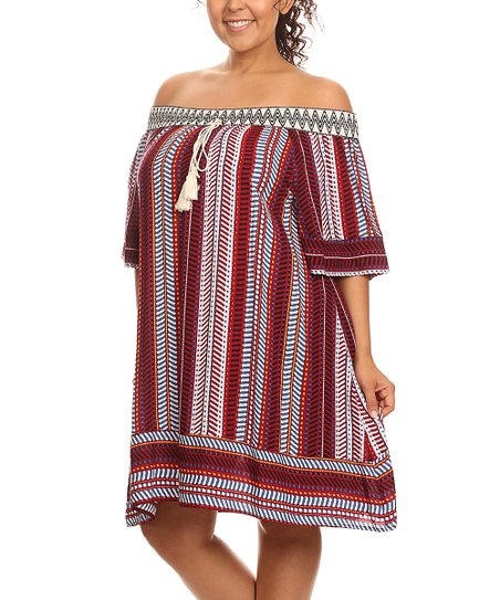 24a377fdc5a7 love this product Red Geometric Stripe Off-Shoulder Shift Dress - Plus