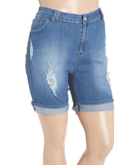 e120701293e Be Girl Clothing Indigo Denim Ripped Shorts - Plus