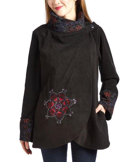 Royal Handicrafts Black Red Flower Cowl Neck Fleece Jacket Women