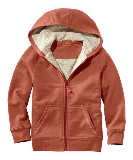 1d1a1143 L.L.Bean Sail Orange Fleece-Lined Camp Hooded Sweatshirt - Boys