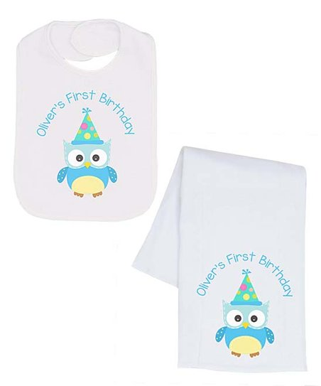 Love This Product Blue Yellow Owl First Birthday Personalized Bib Burp Cloth
