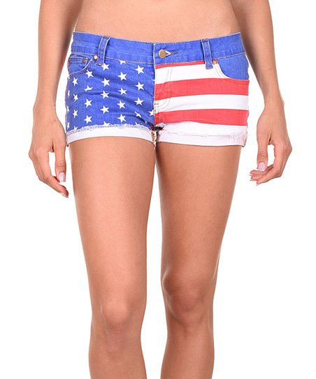 56a4099a1043 Tipsy Elves Blue   Red American Flag Shorts - Women