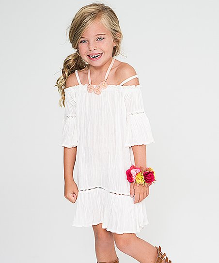 08229a795200 love this product White Sheer Off-Shoulder Shift Dress - Girls