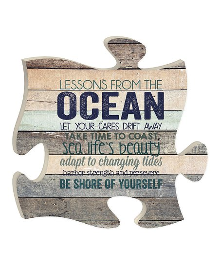 P Graham Dunn Wood Lessons From The Ocean Puzzle Piece Wall Decor