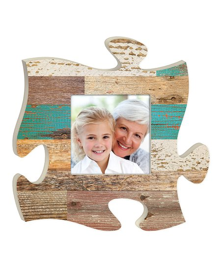 P Graham Dunn Teal Wood Puzzle Piece Photo Frame Zulily