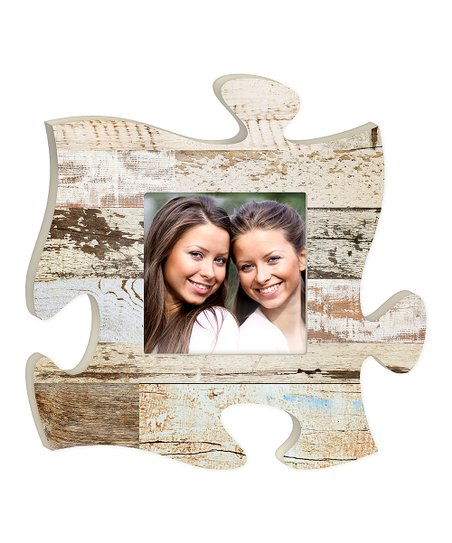 P Graham Dunn White Wood Puzzle Piece Photo Frame Zulily