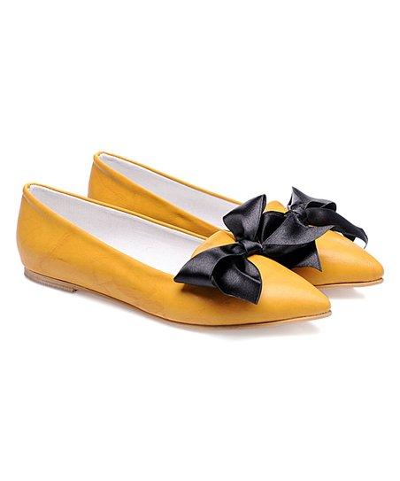 ef98dee65 love this product Mustard & Black Big Bow Ballet Flat - Women