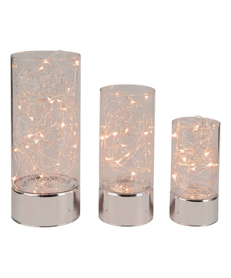 everlasting glow glass led hurricane set of three zulily