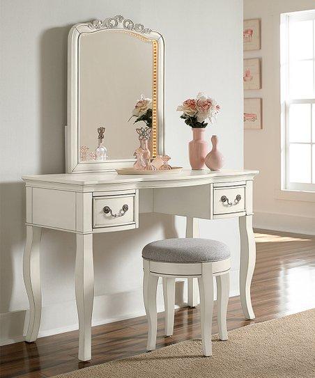 Antique White Kensington Writing Desk Vanity Mirror Zulily