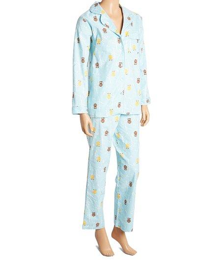 724be52ecf La Cera Blue Owl Flannel Pajama Set