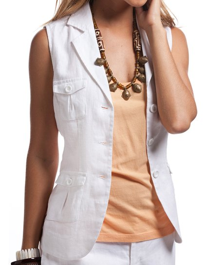 d80062129 Island Company White Adventurer Linen Vest - Women   Zulily