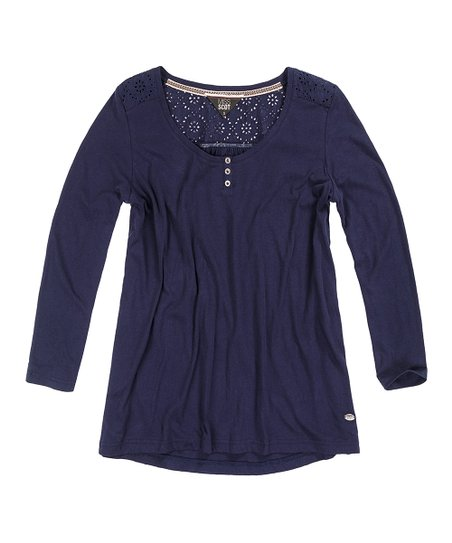 59f138bd653f69 Miss Scot Navy Eyelet Button-Front Long-Sleeve Top | Zulily