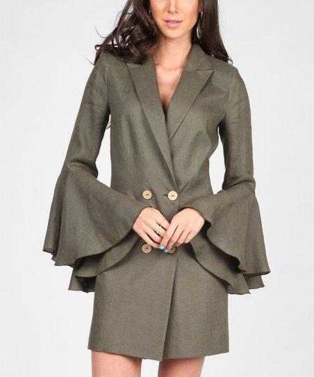 f27c38eeba4b Isabel by Rozarancio Khaki Double-Breasted Linen Bell Sleeve Dress ...